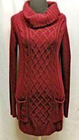 Charlotte Russe Sz S Women's Red Burgundy Long Sleeve Cowl Neck Sweater Dress