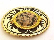 Gold Tone Belt Buckle Stone Cabochon Vintage