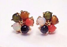Cute! Natural Multi Gemstone Coral Opal Jade Flowers 14K Gold Post Earring Studs