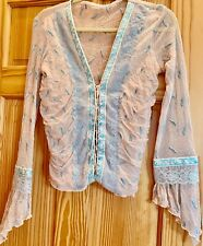 Vintage Designer blouse with intricate detail..boho style, embroidered lace 80's