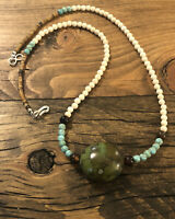 """#914 Green Turquoise 20"""" Necklace, 925 Sterling Silver Hook And Eye Clasp"""