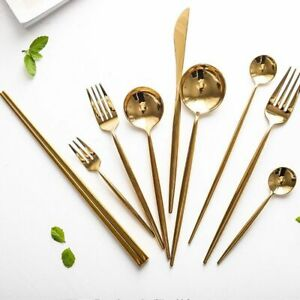 Mirror Gold Cutlery Set Stainless Steel Silverware Tableware Set Service Bright