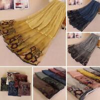 Muslim Women Cotton Linen Long Scarf Scarves Islam Hijab Lace Flower Shawl Wrap