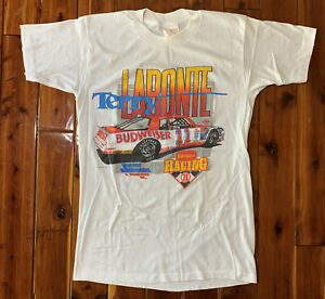vintage nascar t shirt large 1988 terry labonte usa made Soft Thin 80s