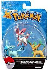 Official Pokemon Eevee Eeveelutions 3 Pcs Figure Set Sylveon Glaceon & Leafeon