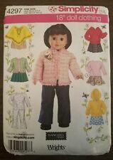 """Simplicity 18 """" Poupée Vêtements Couture Motif American Girl Pantalon Jupe"""