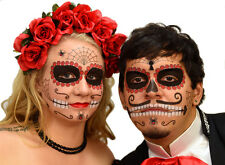 Ruby Sugar Skull Day of the Dead Face Tattoo Kit - 2 Sets for Men or Women