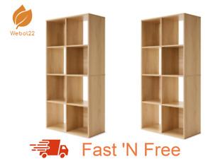 New 2 X 8 Cube Unit Storage Shelf Display Cupboard Bookshelf Cabinet- Oak Look