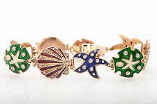 $5000 Aaron Basha ? VS G Diamond Enamel SEA SHELL STAR FISH 14k Gold Bracelet