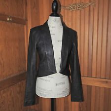 7 For All Mankind Black Tuxedo Leather Jacket Size Small