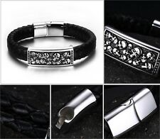 Mens Genuine Leather many skull Wristband Bracelet titanium Stainless Steel