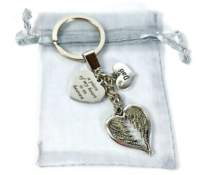 Angel Wings Keyring, Dad Remembrance , Heart in Heaven Message, Love Loss, Gift