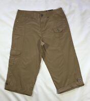 NWT Women's Stye & Co. Dark Tan Cotton Cropped Capri Pants-Size 4
