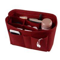 Makeup Organizer Felt Insert Bag Inner Case Handbag Tote Purse Divider 10 Pocket