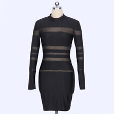 Womens Night Club Mini Dress High Collar Semi-Perspective Atitching Dress