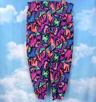 Vtg 80s 90s Rain Beau Parachute Elastic Hammer Pants Baggy Neon Men XL Nylon