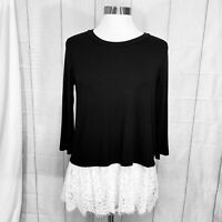 Karen Kane Women's Small Top Black w/White Lace NEW Rayon Blend #X