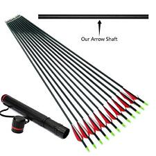 "10PK 30"" Archery Carbon Arrows Spine 400 Field Points Nocked Fletched + Quiver"