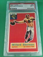 1956 TOPPS FOOTBALL #66 WILLARD SHERMAN PSA 7 NM LOS ANGELES RAMS