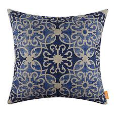 "18"" Vintage Linen Blue Geometric Ikea Style Cushion Cover Pillow Case Sofa Decor"