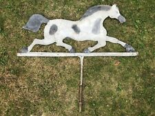 More details for large antique blacksmith made wrought iron & tin galloping horse weather vane