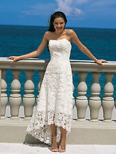 Brand Sleeveless Lace White or Ivory Beach Wedding Dresses Gown Custom size