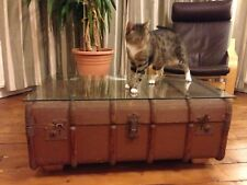 Glass Topped Steamer Chest Coffee Table