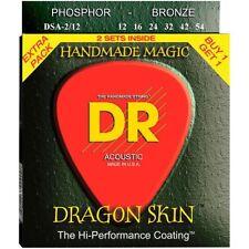 DR Dragon Skin Acoustic Guitar Strings Coated 2 Pack 12-54 Light DSA2-12