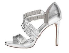 Michael Kors Women Shoes Sz 9 Bella Silver Ruffled Leather Platform High Heel