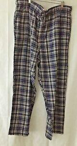 "Fruit of the Loom Mens XL 40/42 Flannel Sleepwear Pants Blue White Plaid 31""Ins"