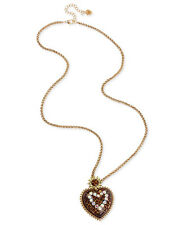 BETSEY JOHNSON Lovely Leopard Heart Pendant Gold-Tone Long Necklace $65