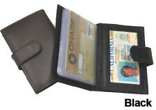 Black Business CARDS Credit ID 100% LEATHER Mens Wallet Holder With Button Strap