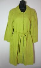 Victor Alfaro Trench Coat 6 Yellow Green Snap Front Womens