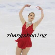 Red Ice Skating Dress/ Competition Figure Skaiting Dress/Twirling Costumes 8906