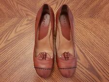 ESKO Brown Calfskin Med Heel Round Toe Pumps Shoes Size 37 US 6.5M Made in Italy
