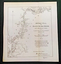 Original 1905 Map of Arthur Kill or Staten Island Sound New York and New Jersey