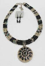 BLACK STONE FLOWER PENDANT NECKLACE & EARRING SET - THREE ROWS OF BEADS