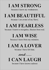 LEBEN INSPIRIEREND / MOTIVATIONS ZITAT POSTER / AUFDRUCK I AM STARK BECAUSE