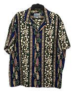 RJC LTD MEN's Hawaiian Camp Shirt Button Up Surfboards Floral XL
