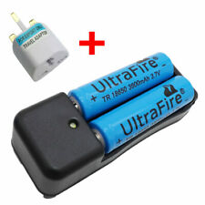 2 X 18650 3.7V 3800mAh Li-ion Rechargeable Battery + 4.2V Charger and UK Adaptor