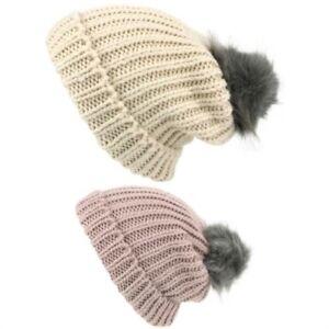 Beanie Hat Cap Warm Winter WHITE PINK Bobble Soft Lined Furry Hawkins Ladies