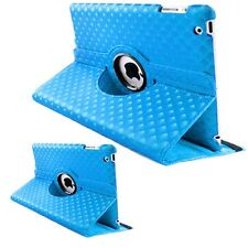 Baby Blue Fashion Diamond Leather 360° Rotating Stand Case Cover For iPad 2/3/4