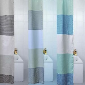 Blue Canyon Shower Curtains Stripes Cream Aqua Grey 180x180cm or 180x200cm