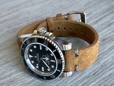 22mm BROWN Suede Vintage Leather Watch Strap Band GRAY Stitch US Quick Ship