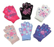 Girls Colourful Thermal Magic Gripper Gloves One Size Winter Warm School Play Hot Pink