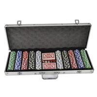 500 Casino Poker Chips Set Texas Hold Em Black Jack Playing Cards Game Case Fun