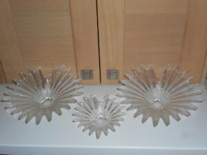 DARTINGTON CRYSTAL ANITA HARRIS 3 PALM LEAF DISH GLASS BOWLS 8 1/2 & 5 1/2 INCH
