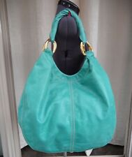 MIU MIU Large Teal Distressed Leather Hobo Shoulder Bag 9c1eb4f5e7f16