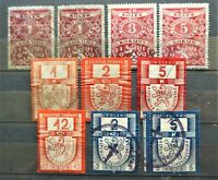 Tschechoslowakei ab1919 Revenue Stempel Fiskal Marken (Kolek) 10 Werte verwendet