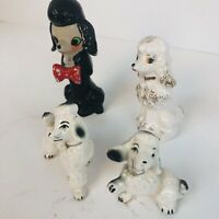 """4 Vintage Poodle Dog Figurines Made In Japan Lot Black White Mid Century 4"""" Dogs"""